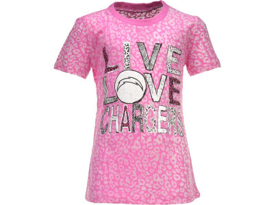 San Diego Chargers Nike NFL Youth Girls Long Length Burnout T-Shirt