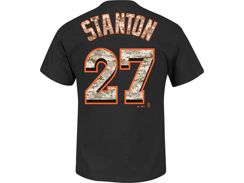 Miami Marlins Giancarlo Stanton MLB Men's Camo Player T-Shirt