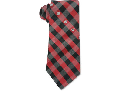 Wisconsin Badgers Polyester Checked Tie
