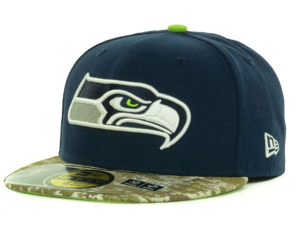 fe4fdb0e0 Seattle Seahawks New Era NFL Salute to Service On Field 59FIFTY Cap ...