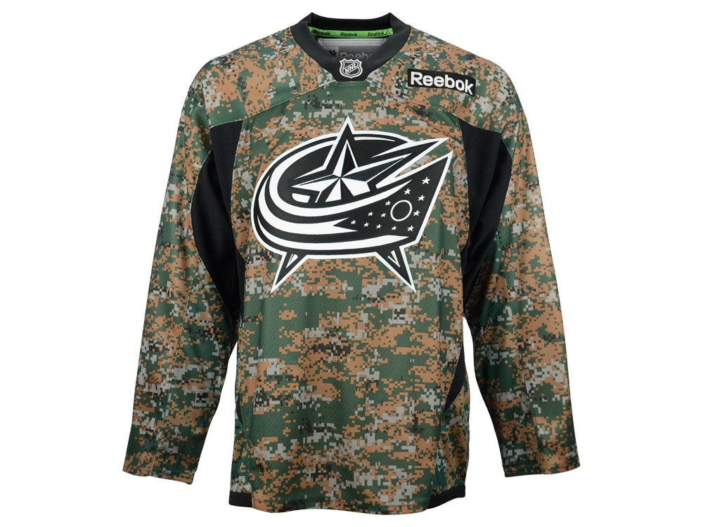 Columbus Blue Jackets Reebok NHL Camo Jersey  c7f2265bbde