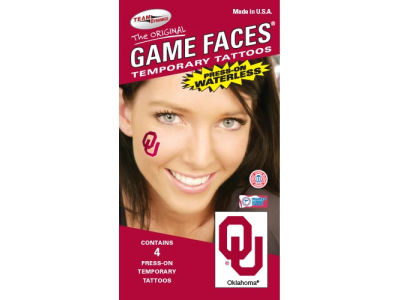 Oklahoma Sooners Waterless Game Face Tattoo