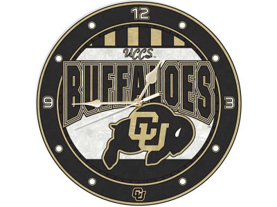 Colorado Buffaloes Art Glass Clock