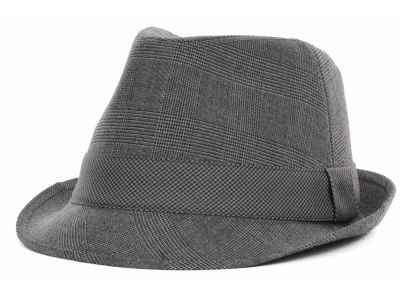 LIDS Private Label PL Grey Plaid Fedora w/ Houndstooth Band
