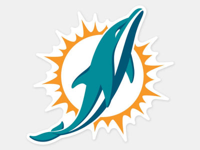 Miami Dolphins 4x4 Die Cut Decal Color