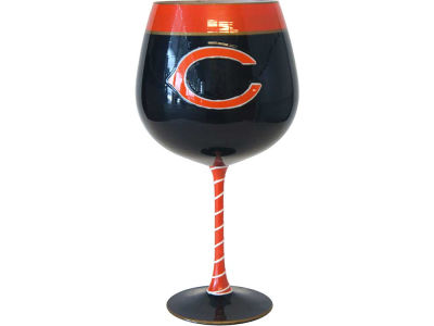 Chicago Bears Art Glass Wine Glass
