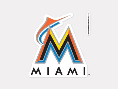 Miami Marlins 4x4 Die Cut Decal Color