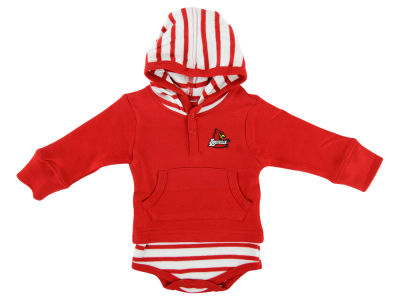 Louisville Cardinals NCAA Newborn Hooded Striped Creeper
