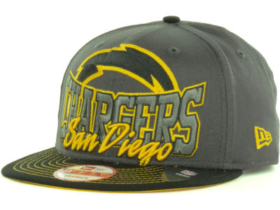 San Diego Chargers New Era NFL Graphite Out and Up 9FIFTY Snapback Cap