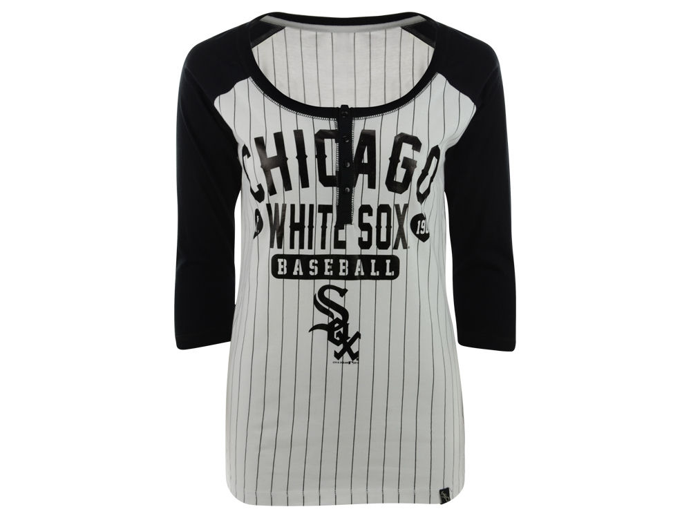 Chicago White Sox New Era MLB Women s Opening Night Stripe Henley T-Shirt  5bf09ed4b