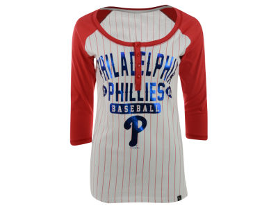 Philadelphia Phillies New Era MLB Women's Opening Night Stripe Henley T-Shirt