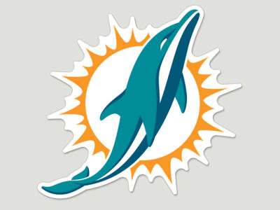 Miami Dolphins Die Cut Color Decal 8in X 8in