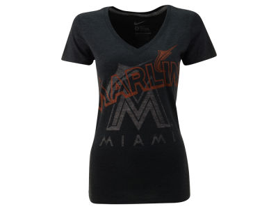 Miami Marlins Nike MLB Women's Mid V-Neck Tri-Blend T-Shirt