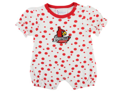 Louisville Cardinals Atlanta Hosiery NCAA Newborn Polka Dot Girls Romper
