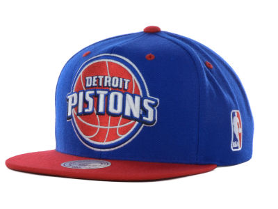 Detroit Pistons Mitchell and Ness NBA Under Over Snapback Cap