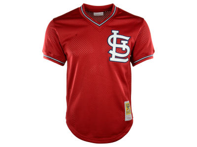 St. Louis Cardinals Ozzie Smith Mitchell & Ness MLB Men's Authentic Mesh Batting Practice V-Neck Jersey