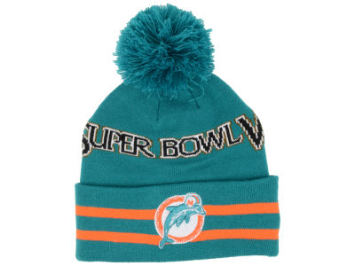 Miami Dolphins New Era NFL Super Bowl Super Wide Point Knit