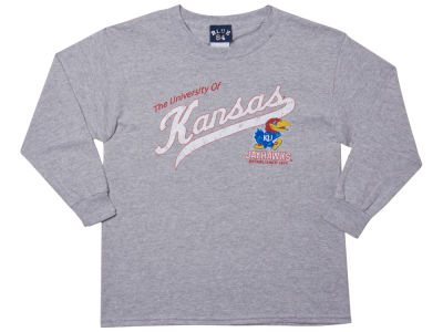 Kansas Jayhawks Blue 84 NCAA Youth Captain Long Sleeve T-Shirt