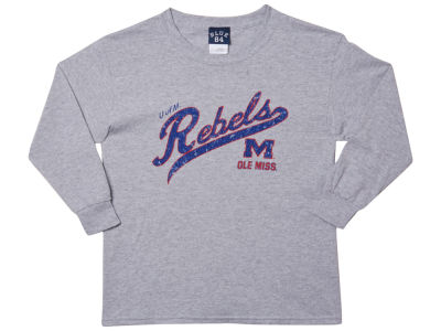 Ole Miss Rebels Blue 84 NCAA Youth Captain Long Sleeve T-Shirt