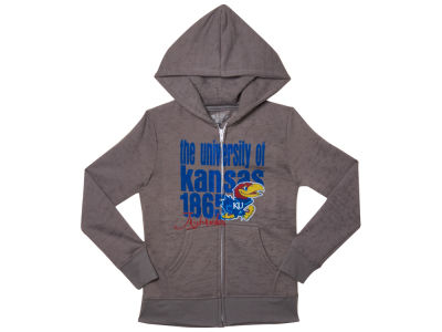 Kansas Jayhawks Blue 84 NCAA Youth Girl Faust Burnout Full Zip Hoodie