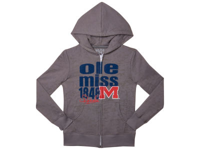 Ole Miss Rebels Blue 84 NCAA Youth Girls Faust Burnout Full Zip Hoodie
