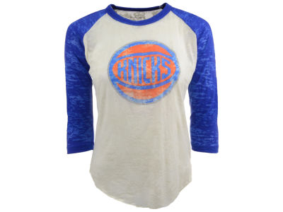 New York Knicks NBA Womens Three Quarter Sleeve Burnout Raglan T-Shirt
