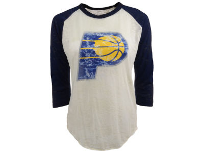 Indiana Pacers NBA Womens Three Quarter Sleeve Burnout Raglan T-Shirt