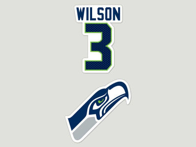 Seattle Seahawks Russell Wilson 2-pack 4x4 Die Cut Decal