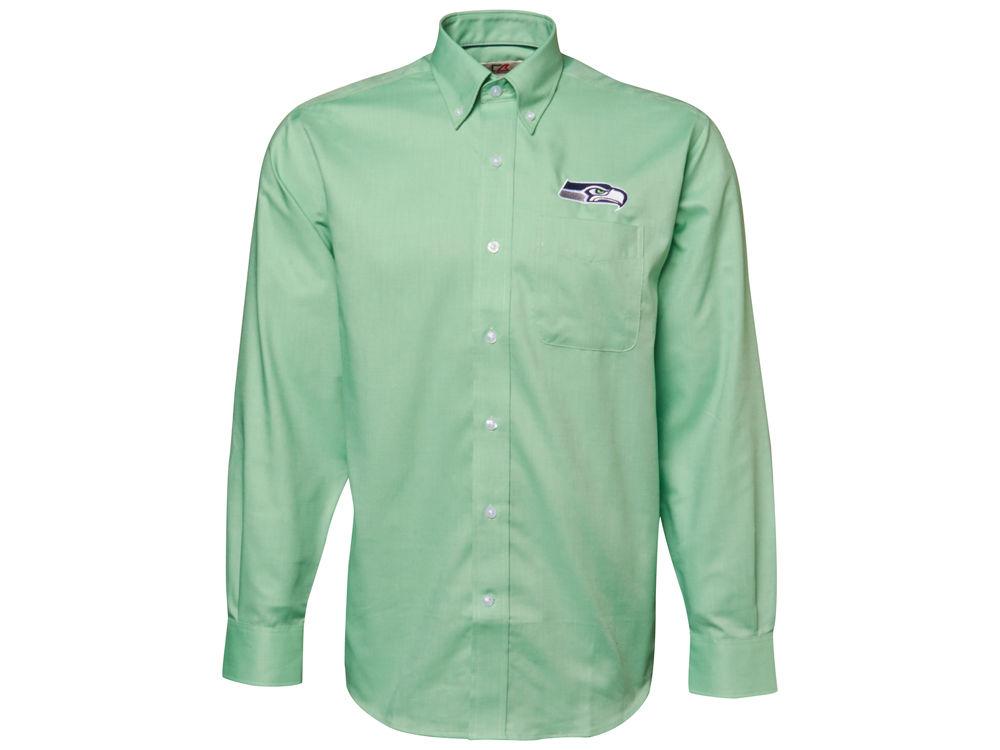 703330d8e Seattle Seahawks Cutter   Buck NFL Men s Nailshead Button Up Shirt ...