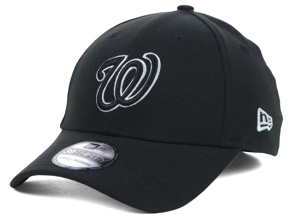 Washington Nationals New Era MLB Black White Classic 39THIRTY Cap ... 5631ab7e9ff