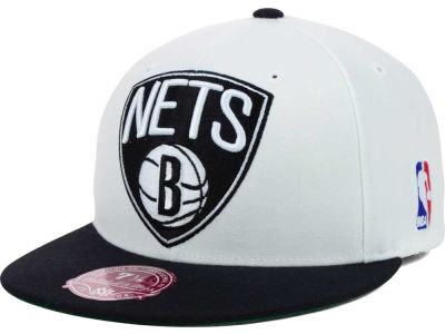 Brooklyn Nets Mitchell and Ness NBA XL Logo 2-Tone Fitted Cap