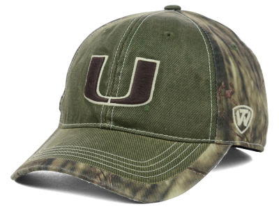Miami Hurricanes Top of the World NCAA Laylow Camo One-Fit Cap