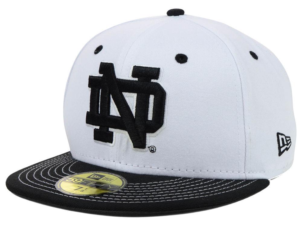 5a1bc3c0b08 Notre Dame Fighting Irish New Era NCAA White Black 59FIFTY Cap ...
