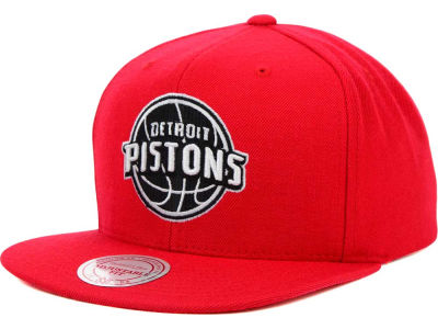 Detroit Pistons Mitchell and Ness NBA Team BW Snapback Hat