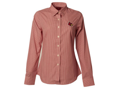 Louisville Cardinals NCAA Womens Long Sleeve Focus Button Down Collar Shirt