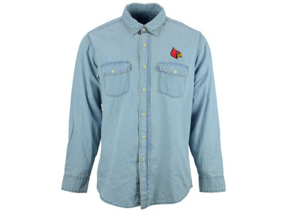 Louisville Cardinals NCAA Denim Chambray Button Up Shirt