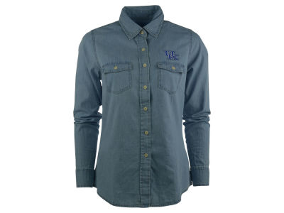 Kentucky Wildcats NCAA Womens Long Sleeve Chambray Button Down Shirt