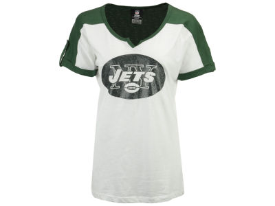New York Jets 5th & Ocean NFL Womens Rolled Sleeve Slub T-Shirt 2014