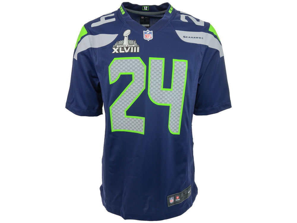 Seattle Seahawks Marshawn Lynch Nike NFL Super Bowl XLVIII Patch Game  Jersey  f498780d2