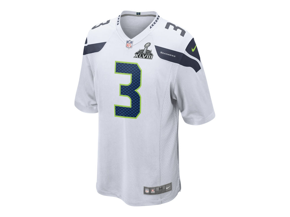 Seattle Seahawks Russell Wilson Nike NFL Super Bowl XLVIII Patch Game  Jersey  30c8d6e1a