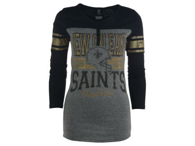 New Orleans Saints NFL Womens Long Sleeve Button Vintage T-Shirt