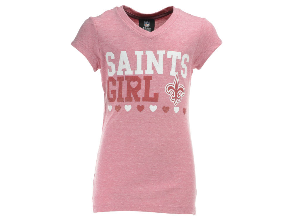 huge discount 380f3 63f42 New Orleans Saints NFL Youth Girls V-Neck Pink T-Shirt