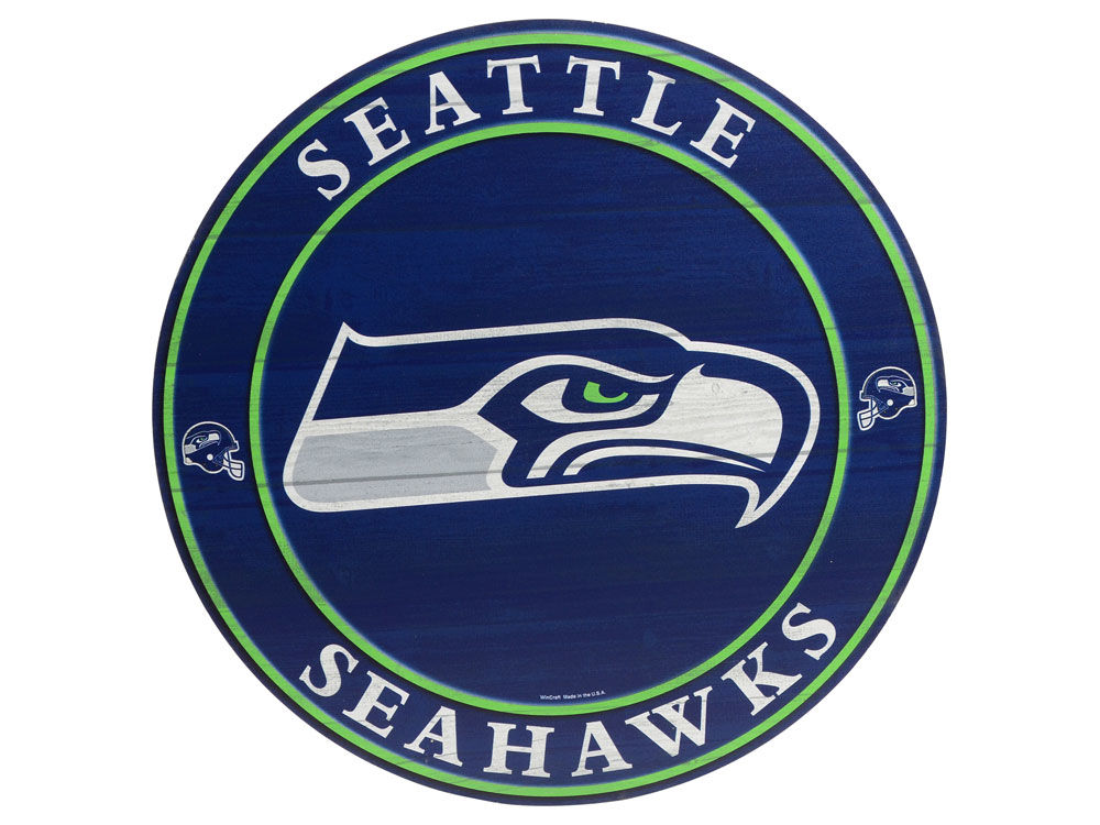 Seattle Seahawks Circle Wood Sign Lids