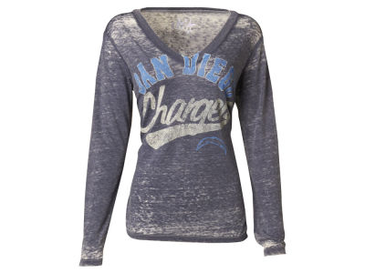 San Diego Chargers NFL Womens Long Sleeve Crystal Burnout T-Shirt