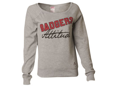 Wisconsin Badgers NCAA Women's Attitude Scoop Crew Sweatshirt