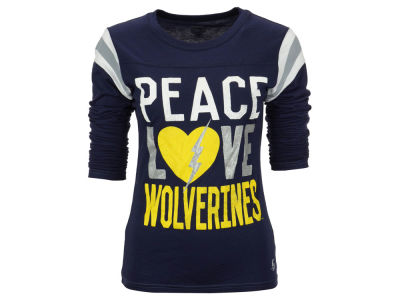 Michigan Wolverines NCAA Women's Peace Love Burn Long Sleeve T-Shirt