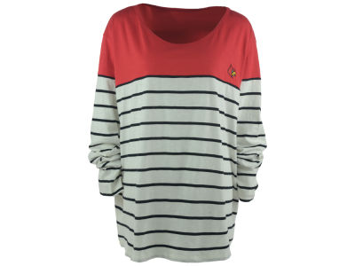 Louisville Cardinals NCAA Women's Plus Size Boat Neck Striped Shirt