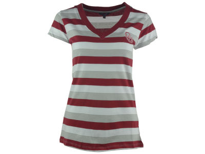 Oklahoma Sooners NCAA Women's Striped Tailgate T-Shirt