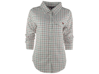 Louisville Cardinals NCAA Women's Boyfriend Fit Plaid Button Up Shirt
