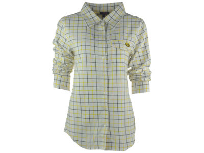 Iowa Hawkeyes NCAA Women's Boyfriend Fit Plaid Button Up Shirt